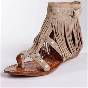 Sam Edelman suede fringe dazey sandals with studs